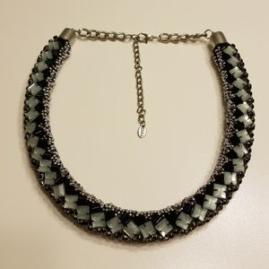 Zara Tube Necklace with Silver Beads/Green Stones